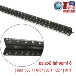 """12"""" Triangular Architectural Scale Ruler Imperial Engineerin"""