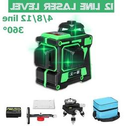 3D 12 Lines Laser Level Self Leveling Rotary Cross Green Lin