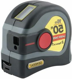 General Tools LTM1 2-in-1 Laser Tape Measure, LCD Digital Di